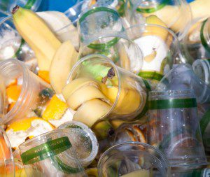 Compostable cups and food waste are diverted from the landfill.