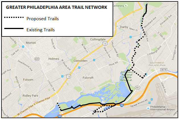 Map of the Greater Philadelphia Area's network of existing and proposed trails.